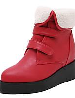 Zapatos de mujer - Tacón Cuña - Cuñas / Plataforma / Puntiagudos - Botas - Vestido - Semicuero - Negro / Rojo
