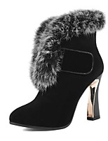 Women's Shoes Leather Cone Heel Fashion Boots / Round Toe Boots Dress / Casual Black