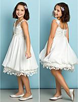 Knee-length Chiffon / Lace Junior Bridesmaid Dress - Ivory A-line V-neck