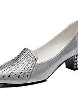 Women's Shoes Leatherette Chunky Heel Heels Heels Wedding / Career / Party & Evening / Dress / Casual Black / Silver