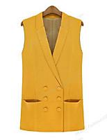 Women's Solid Black / Yellow Jackets , Vintage / Casual Shirt Collar Sleeveless