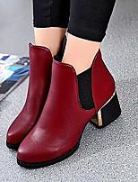Scarpe Donna - Stivali - Formale / Casual - Stivali - Quadrato - Finta pelle - Nero / Borgogna