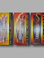 Hand-Painted Oil Painting on Canvas Wall Art Contempory Abstract Golden Red Home Deco Three Panel Ready to Hang