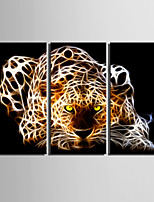 E-HOME® Stretched Canvas Art Shiny Leopard Decoration Painting  Set of 3
