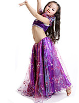 Belly Dance Outfits Women's Performance Satin Embroidery 2 Pieces Pink / Purple / White