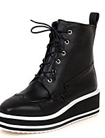 Women's Shoes Leatherette Wedge Heel Fashion Boots Boots Office & Career / Dress / Casual Black
