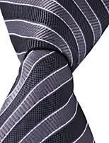 Black Gray Striped Classic Jacquard Woven Silk Men Necktie