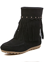 Women's Shoes Leatherette Low Heel Round Toe Boots Casual Black / Gray / Khaki
