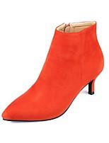 Women's Shoes Fleece Stiletto Heel Fashion Boots / Bootie / Pointed Toe Boots Dress / Casual Black / Gray / Orange