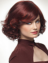 Fashion Natural Red Inclined Bang Curly Synthetic Hair