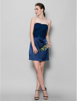Short/Mini Tulle / Charmeuse Bridesmaid Dress - Dark Navy Sheath/Column Sweetheart