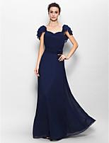 Floor-length Chiffon Bridesmaid Dress - Dark Navy Sheath/Column Sweetheart