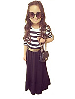 Girl's Fashion Sweet Long Sleeve Cotton Blend Stripes Dress