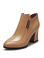 Women's Shoes Leather Chunky Heel Fashion Boots Boots Office & Career / Casual Black / Brown