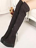 Women's Shoes Fleece Platform Round Toe Boots Casual Black / Blue