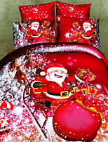 3D Cotton Duvet Cover Set Father Christmas and Christmas Gift Print