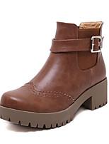 Chaussures Femme - Habillé / Décontracté - Noir / Marron - Talon Bas - Talons / A Plateau / Bout Arrondi - Bottes - Similicuir