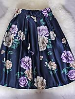 Fashion Women's Retro Luxury Beautiful Flowers Print Wild Slim Elastic Waist Knee-length Skirts