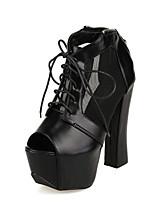 Women's Shoes Chunky Heel Peep Toe Boots Casual Black