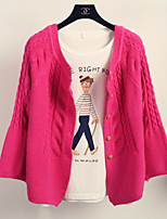 Women's Jacquard Pink / Red / Beige Cardigan , Casual Long Sleeve