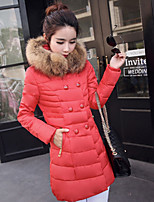 Women's Solid Blue / Pink / Red / Black / Khaki Parka Coat , Casual Hooded Long Sleeve