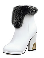 Women's Shoes Chunky Heel Fashion Boots Boots Party & Evening / Dress / Casual Black / Brown / White