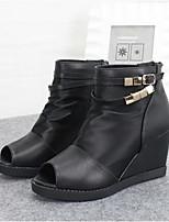 Chaussures Femme - Décontracté - Noir - Talon Compensé - Bout Ouvert - Bottes - Similicuir