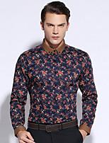 Shirts Button Down Collar Long Sleeve Cotton Checkered / Gingham Dark Navy / Pool