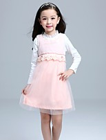 Girl's Pink Dress , Lace Polyester Winter