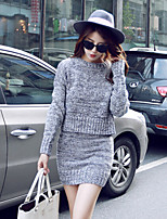 Women's New Solid Red / Gray Pullover Set(Sweater&Skirt) , Casual Long Sleeve