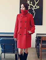 Women's Solid Coat , Vintage /  Long Sleeve Tweed