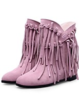 Women's Shoes Leather Wedge Heel Fashion Boots / Round Toe Boots Dress / Casual Green / Pink / Gray / Khaki