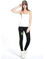 Women's Black Pants Green Leaves Printed Cotton Gym Fitness Legging Slim Thin Sports Leggings