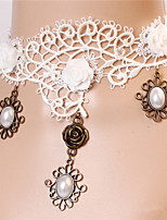 Wind Lace White Retro Bridal Necklace