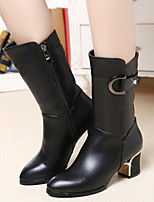Women's Shoes New Lady Chunky Heel Round Toe Mid-Calf Boots with Buckle Dress / Casual Black
