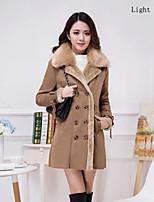 Women Fleece Lining Removable Fur Collar Faux Fur Top Coat