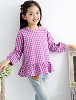 Girl's Purple Shirt , Ruffle Cotton Summer / Spring / Fall