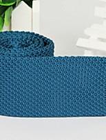 Classic Dark Blue Men Flat Polyester Silk knitted Tie Necktie