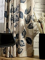(Two Panel)Country Leaf Printed Cotton Energy Saving Curtain