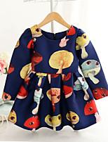 Girl's Fashion Simplicity  Cotton Blend   Fall/Spring Mushrooms Printing Princess Dress