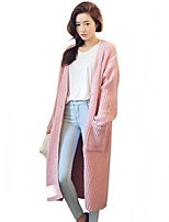 Women's Loose Solid Blue / Pink / Beige Long Cardigan , Casual Long Sleeve