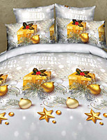 3D Bedding Set 4pcs Golden Christmas Gift and Ornament Print