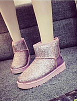 Women's Shoes Fabric Flat Heel Round Toe Boots Casual Black / Pink / Silver