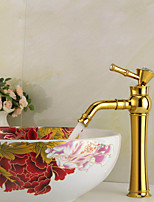 High Quality Contemporary Golden Brass Hot And Cold Basin Faucet