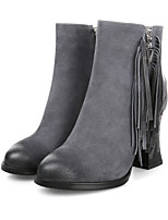 Women's Shoes Leather Chunky Heel Fashion Boots / Round Toe Boots Dress / Casual Black / Gray