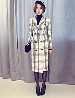 Women's Check White / Black Coat , Casual Long Sleeve Nylon / Cotton Blends