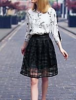 Women's Mesh Skirt Transparent High Waist Pleated Midi Skirts