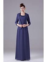 Sheath/Column Mother of the Bride Dress - Royal Blue Floor-length Chiffon