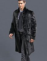 Men Faux Fur Top , Belt Not Included Winter Long  Plus Size Fur Coat