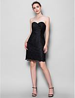 Knee-length Lace Bridesmaid Dress - Black Sheath/Column Sweetheart